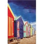 Beach Cabins Rectangular Tile