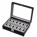 Black Leather Lockable Twelve Watch Box