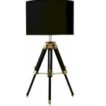 Black Wooden Adjustable Tripod Table Lamp