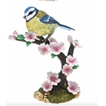 Blue Tit with Pink Flowers Ornament