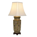 Ceramic Bronze Floral and Phoenix Square Table Lamp