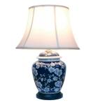 Ceramic Dark Blue and White Blossom Round Table Lamp
