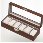 Cognac Tan Lockable Six Watch Box