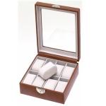 Cognac Tan Lockable Eight Watch Box