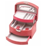 Coral Pink Small Lockable Auto Tray Jewellery Box