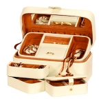 Cream and Tan Bonded Leather Anne Jewellery Box with Traveller