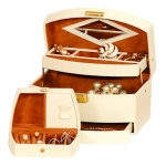 Cream and Tan Consort Jewellery Box