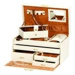 Cream and Tan Duchess Jewellery Box