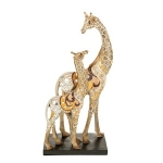 Gold Patchwork Design Mother and Baby Giraffe Ornament