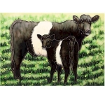 Grazing Cow and Calf Rectangular Tile
