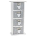 Grey Shabby Chic Provence Heart Four Drawer Mini Chest