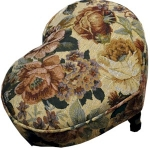 Heart Floral Tapestry Footstool