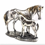 Horse and Foal Silver Ornament