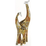 Klimt Patchwork Design Mother and Baby Giraffe Ornament