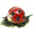 Ladybird on Leaf Trinket Box