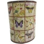 Large Butterfly and Bird Wooden Oval Waste Bin