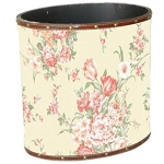 Large Cream Floral Wooden Oval Waste Bin