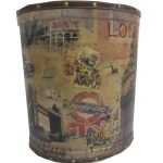 Large London Wooden Oval Waste Bin