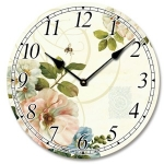 Large Wooden Round Floral and Bee Wall Clock