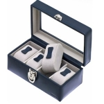 Navy Blue Leather Lockable Four Watch Box