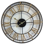 Oversized Black and Gold Metal 60 cm Wall Clock