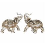 Pair of Large Bronze Assam Elephant Ornaments