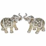 Pair of Small Diamond Elephant Ornaments
