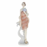 Peach Roaring 20s Figurine Leaning on a Pillar