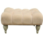 Pink and White Button Footstool