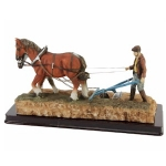 Ploughing Farmer and Horses Ornament