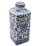 Porcelain Blue and White Tall Square Storage Jar