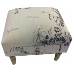 Rectangular Dark Grey & Linen Butterfly and Floral Footstool