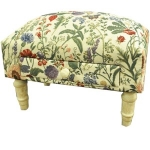 Rectangular Floral Tapestry Footstool with Drawer