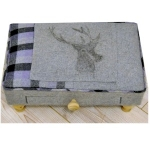 Rectangular Grey and Lilac Purple Stag Footool with Drawer