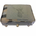 Rectangular Grey and Beige Stag Footool with Drawer