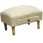 Rectangular Linen Footstool with Drawer