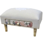 Rectangular Linen Script Footstool with Floral Drawer