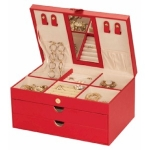 Red Bonded Leather Victoria Jewellery Box