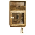 Rustic Wooden Key Box and Letter Rack
