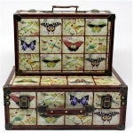Set of Two Wooden Storage Suitcases of Butterflies and Birds