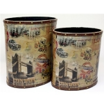 Set of Two Wooden Oval Waste Bins of London City