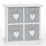 Shabby Chic Grey Provence Heart Square Four Drawer Mini Chest