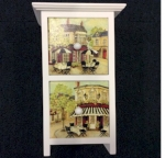 Shabby Chic Rectangular Two Drawer Mini Chest with Cafe Scenes