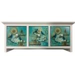 Shabby Chic Rectangular Three Drawer Mini Chest with Birdcages