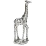 Silver Leaves Design Small Giraffe Ornament