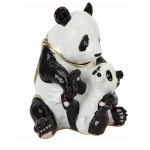 Sitting Panda and Baby Trinket Box
