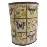 Small Butterfly and Bird Wooden Oval Waste Bin