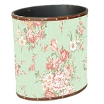 Small Green Floral Wooden Oval Waste Bin