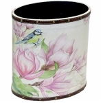 Small Pink Floral Wooden Oval Waste Bin