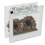 Square Brown Flower Triple Tea Light Holder